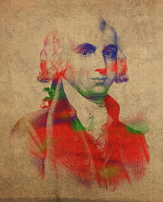 President Mixed Media - President James Madison Watercolor Portrait by Design Turnpike