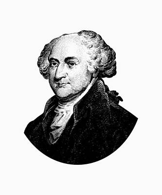 Founding Fathers Mixed Media - President John Adams Graphic Black And White by War Is Hell Store