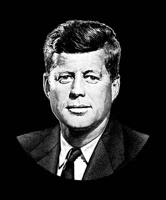Digital Art - President John F. Kennedy Graphic Black And White  by War Is Hell Store
