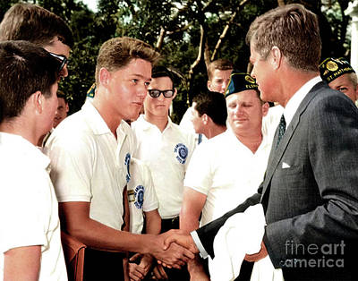 Photograph - President John F. Kennedy Greets 16 Year Old Bill Clinton In 1963 by Doc Braham