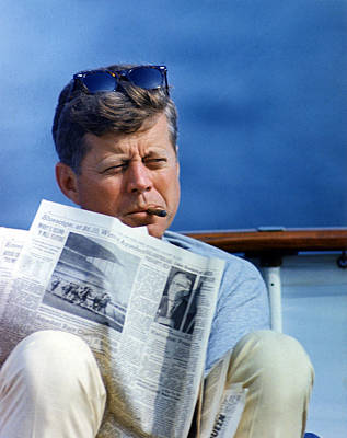 Vintage Photograph - President John Kennedy Smoking A Cigar by Everett