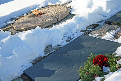 Photograph - President John Kennedy Tombstone With Snow And Eternal Flame by Cora Wandel