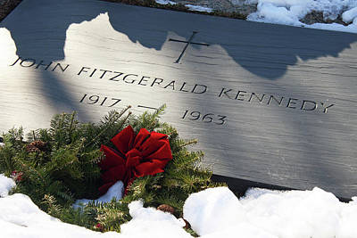 Photograph - President John Kennedy Tombstone With Snow by Cora Wandel