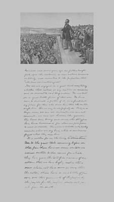 Mixed Media - President Lincoln And The Gettysburg Address by War Is Hell Store