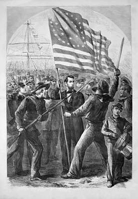 Landmarks Painting Royalty Free Images - President Lincoln holding the American Flag Royalty-Free Image by War Is Hell Store