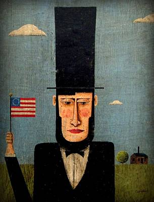 Folk Art Lincoln Painting - President Lincoln by Timothy Campbell