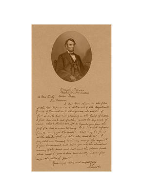 Us Mixed Media - President Lincoln's Letter To Mrs. Bixby by War Is Hell Store