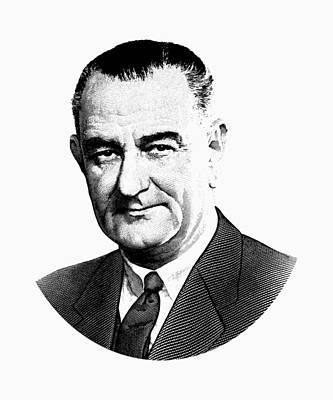Digital Art - President Lyndon Johnson Graphic - Black And White by War Is Hell Store