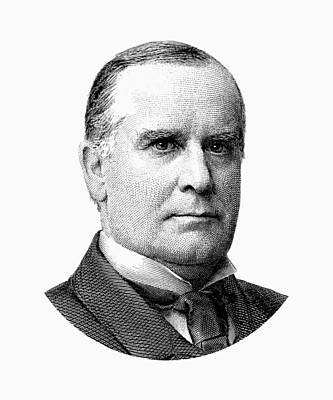Digital Art - President Mckinley Graphic - Black And White by War Is Hell Store