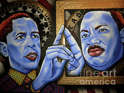 Painting - President Obama And Martin Luther King  by Nannette Harris