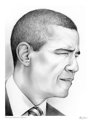 Politicians Drawings - President Obama by Greg Joens