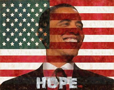Hope And Change Painting - President Obama Hope by Dan Sproul