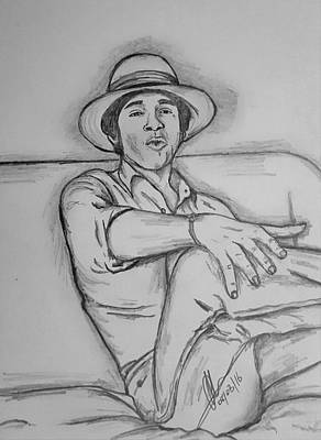 Whitehouse Drawing - President Obama Relaxing  by Collin A Clarke