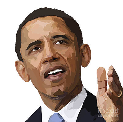 Barrack Obama Digital Art - President Obama by Richard Newland