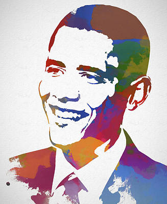 Politicians Royalty-Free and Rights-Managed Images - President Obama Watercolor by Dan Sproul