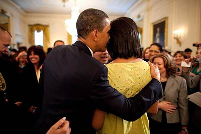 Barack Obama Photograph - President Obama Whispers Into Michelles by Everett