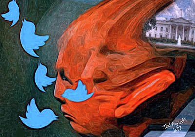 Digital Art - President Of Twitter by Ted Azriel