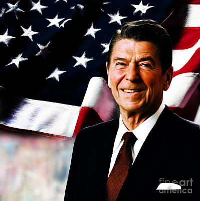 Star Spangled Banner Painting - President Ronald Reagan by Gull G