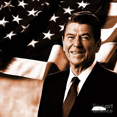 Architecture Painting - President Ronald Reagan-a by Gull G