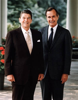 Ronald Reagan Wall Art - Photograph - President Reagan And George H.w. Bush - Official Portrait  by War Is Hell Store