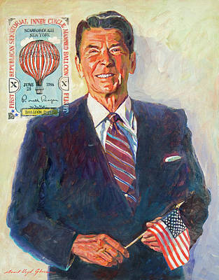 Stars And Stripe Painting - President Reagan Balloon Stamp by David Lloyd Glover