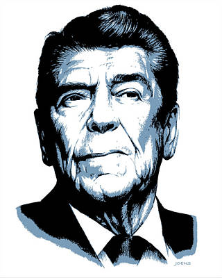Politicians Drawings - President Reagan by Greg Joens