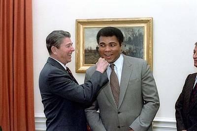 President Reagan Punching Muhammad Ali Art Print by Everett