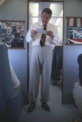 Bsloc Photograph - President Reagan Wearing Sweatpants by Everett
