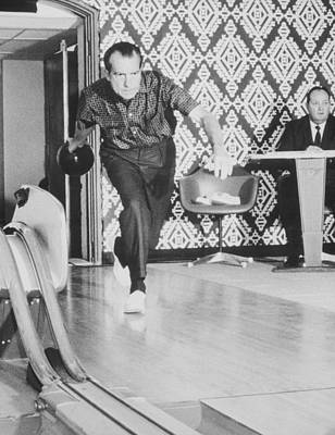 Photograph - President Richard Nixon Bowling At The White House by War Is Hell Store