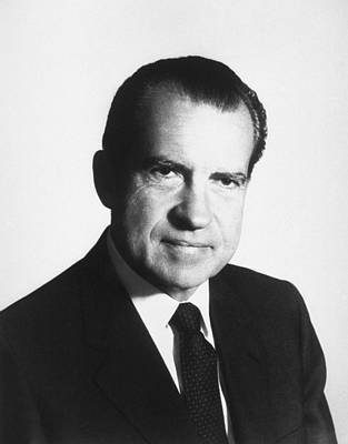 Nixon Photograph - President Richard Nixon Portrait  by War Is Hell Store