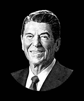 Digital Art - President Ronald Reagan Graphic - Black And White by War Is Hell Store