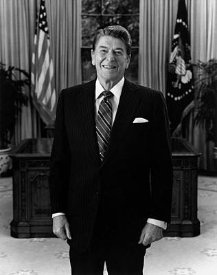 Republican Photograph - President Ronald Reagan In The Oval Office by War Is Hell Store