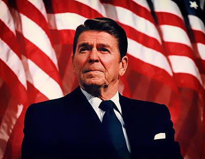 President Ronald Reagan Speaking - 1982 Art Print by Mountain Dreams