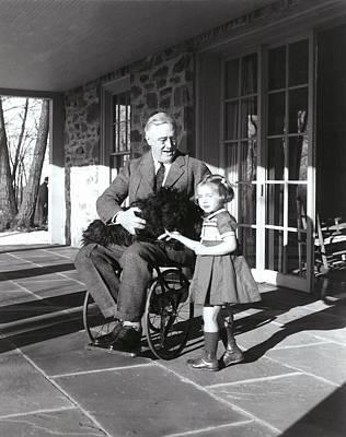 President Roosevelt In His Wheelchair Print by Everett