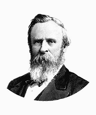 Politics Digital Art - President Rutherford B. Hayes Graphic Black And White by War Is Hell Store