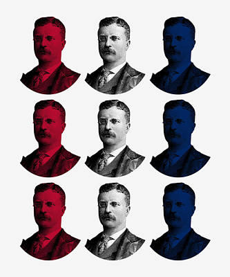 President Teddy Roosevelt - Red, White, And Blue Art Print