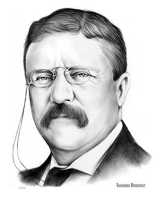 Drawing - President Theodore Roosevelt 2 by Greg Joens