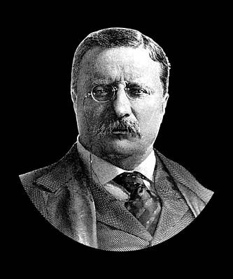 President Theodore Roosevelt Graphic - Black And White Art Print by War Is Hell Store