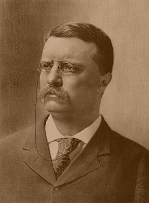 Warishellstore Drawing - President Theodore Roosevelt - Vintage by War Is Hell Store