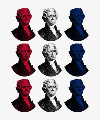 Thomas Jefferson Digital Art - President Thomas Jefferson - Red, White, And Blue by War Is Hell Store