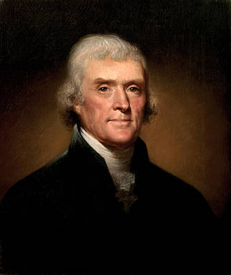 Democracy Painting - President Thomas Jefferson  by War Is Hell Store