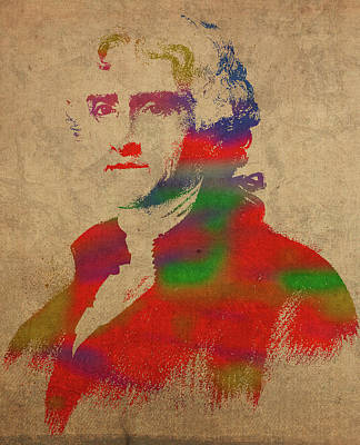 President Thomas Jefferson Watercolor Portrait Art Print by Design Turnpike