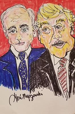 A Hand-thrown Drawing - President Trump And President Putin by Geraldine Myszenski