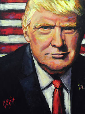 Potus Painting - President Trump by Carole Foret
