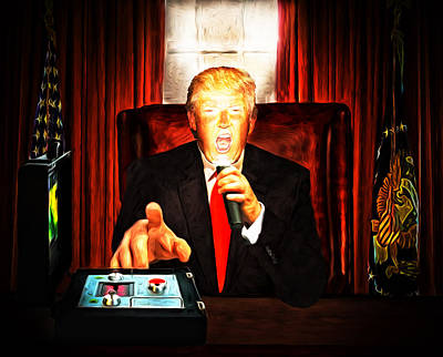 Atomic Mixed Media - President Trump. Now That's Scary. Two by Tony Meaney