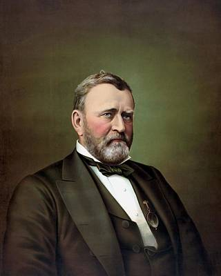 Landmarks Painting Royalty Free Images - President Ulysses S Grant Portrait Royalty-Free Image by War Is Hell Store