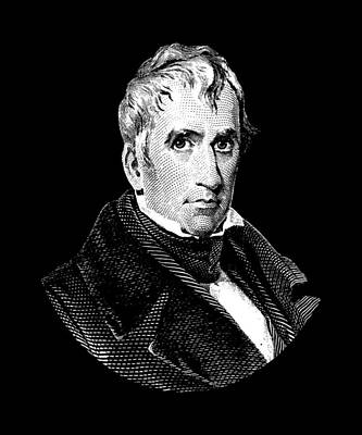 Digital Art - President William Henry Harrison Graphic - Black And White by War Is Hell Store