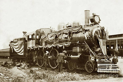 Photograph - President William Mckinleys Presidential Locomotive No. 1456 Circa 1901 by California Views Mr Pat Hathaway Archives