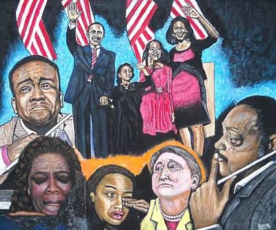 Michelle Obama Painting - Presidential Election Night 2008 by Koffi Mbairamadji