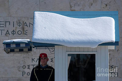 Photograph - Presidential Guard With Snow by George Atsametakis